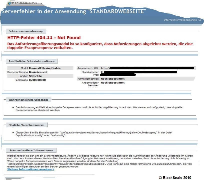 Read more about the article HTTP-Fehler 404.11, Escapesequenz werden abgelehnt im IIS