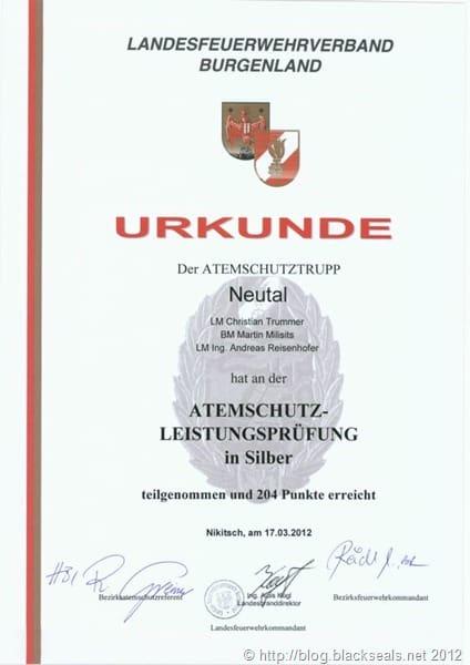 Read more about the article Erfolgreiche Teilnahme Atemschutzleistungsprüfung 2012