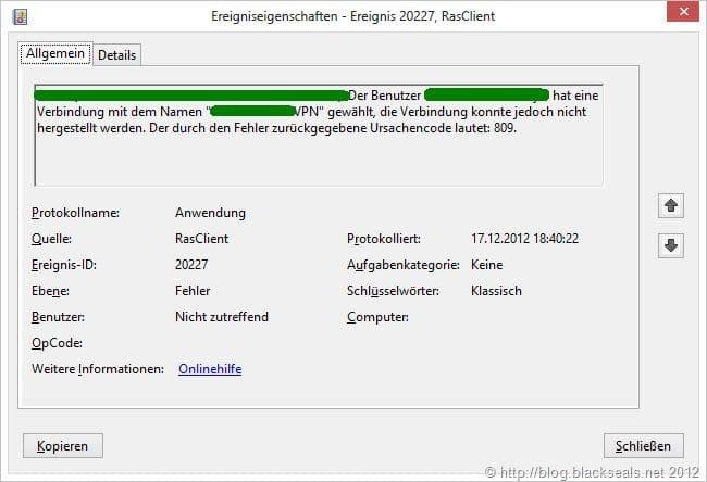 """VPN-Einwahl schlägt mit """"Fehler 87 Falscher Parameter"""" fehl"""