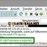 Microsoft FTP(S)-Server: 530 Valid hostname is expected