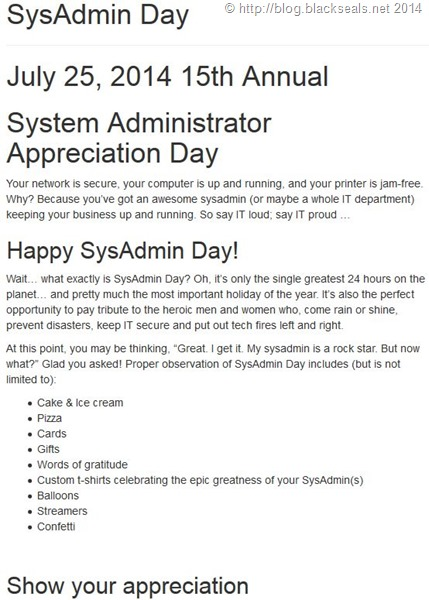 Read more about the article Heute ist System Administrator Appreciation Day 2014