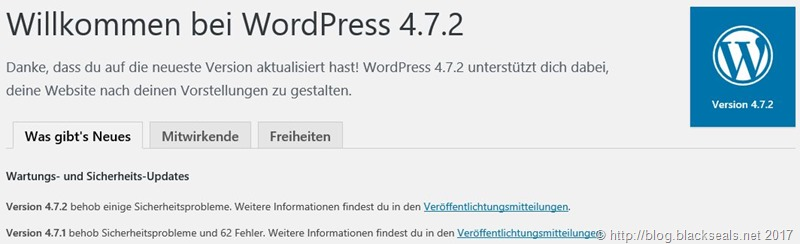 WordPress 4.7.2 ist da *Update*