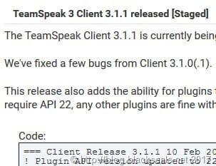 TeamSpeak Client 3.1.1 erschienen