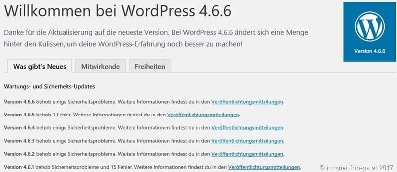 WordPress 4.7.5 und 4.6.6 ist da