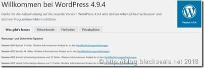 Read more about the article WordPress 4.9.4 ist da und nur manuell installierbar