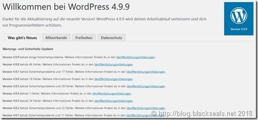 WordPress 4.9.9 und 5.0.1 ist da