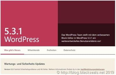 WordPress 5.3.1 und 5.2.5 sind da