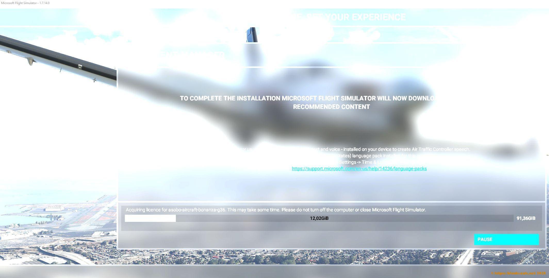Eigenarten der Installation vom Flight Simulator 2020